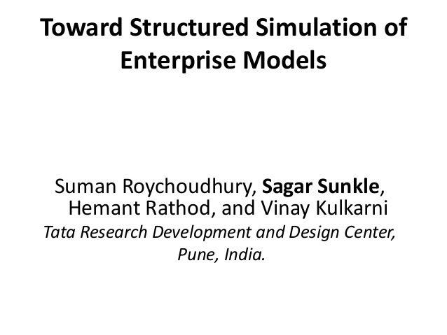 Toward Structured Simulation of  Enterprise Models  Suman Roychoudhury, Sagar Sunkle,  Hemant Rathod, and Vinay Kulkarni  ...