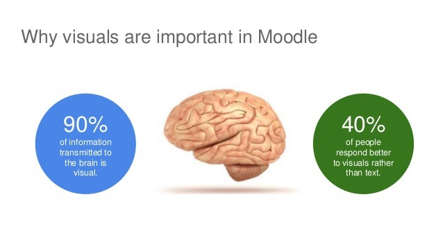 Why visuals are important in Moodle 90% of information transmitted to the brain is visual. 40% of people respond better to...