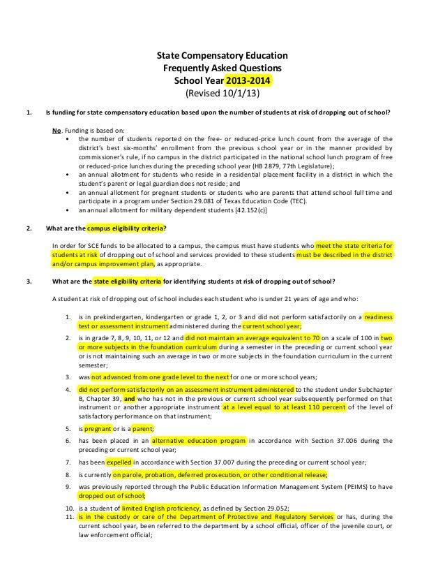 State Compensatory Education Frequently Asked Questions School Year 2013-2014 (Revised 10/1/13) 1.  Is funding for state c...