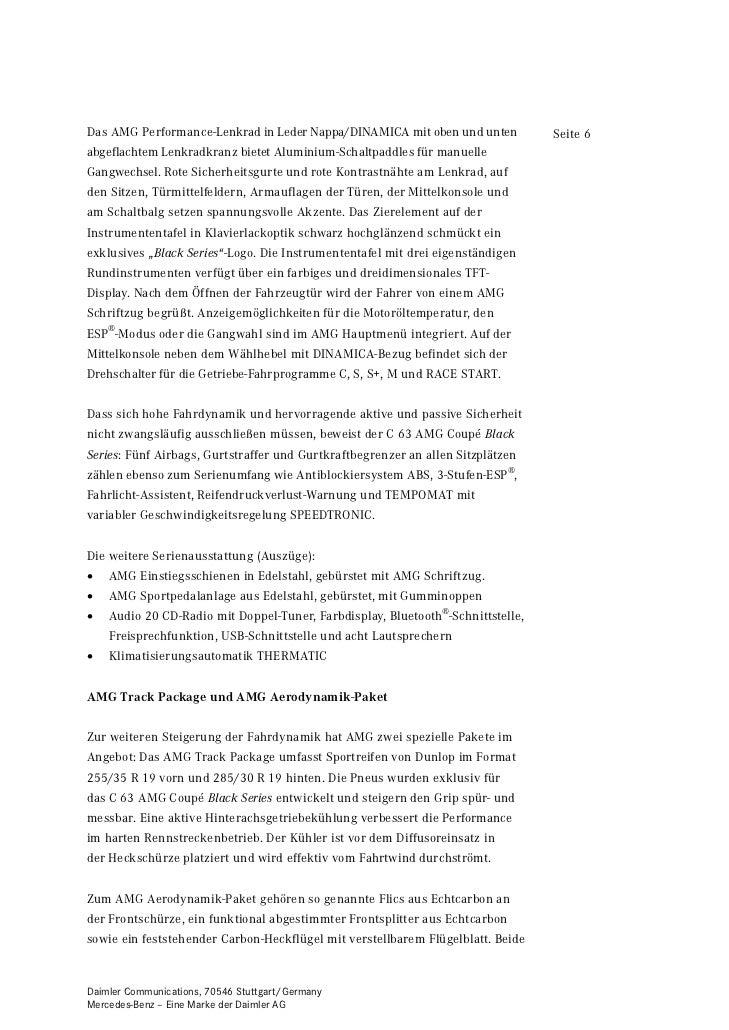 Das AMG Performance-Lenkrad in Leder Nappa/DINAMICA mit oben und unten           Seite 6abgeflachtem Lenkradkranz bietet A...