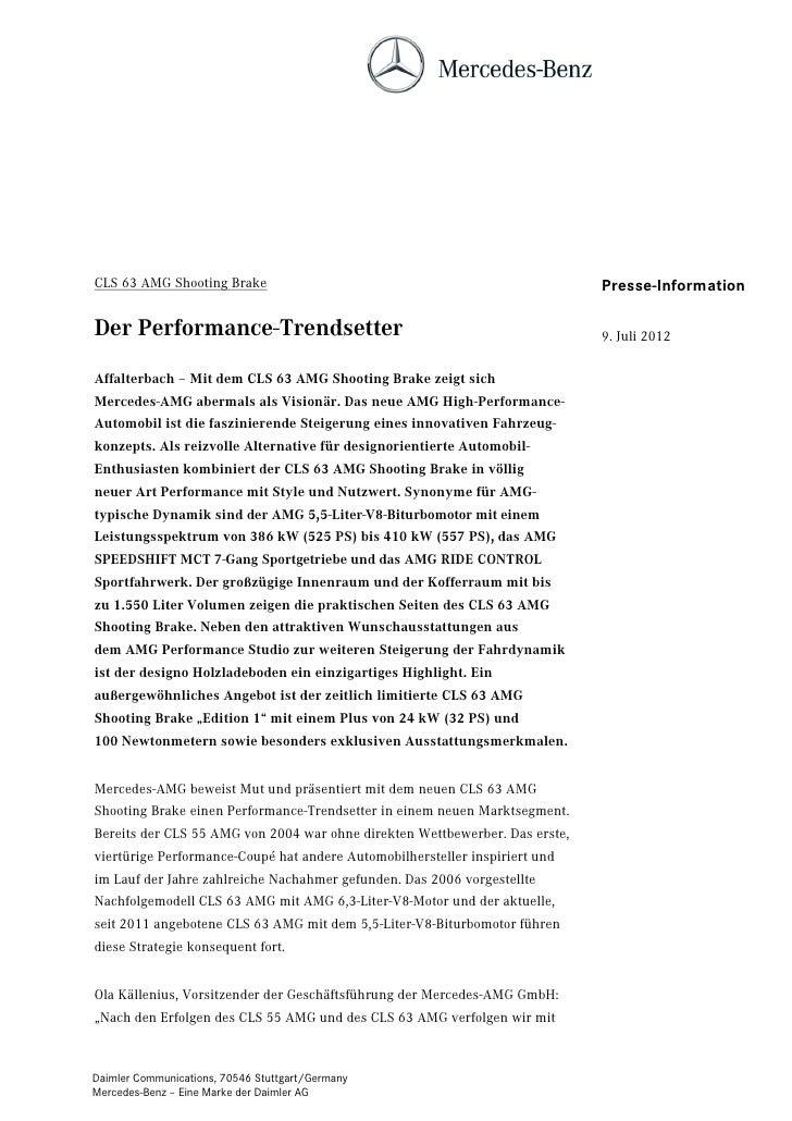CLS 63 AMG Shooting Brake                                                    Presse-InformationDer Performance-Trendsetter...