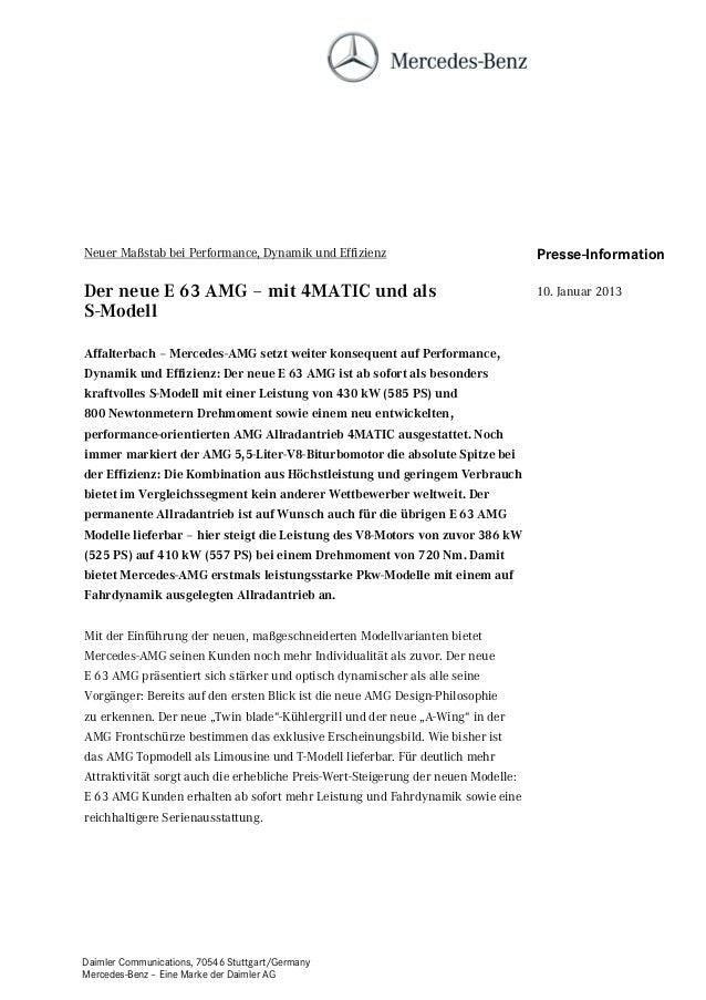 Neuer Maßstab bei Performance, Dynamik und Effizienz                               Presse-InformationDer neue E 63 AMG – m...