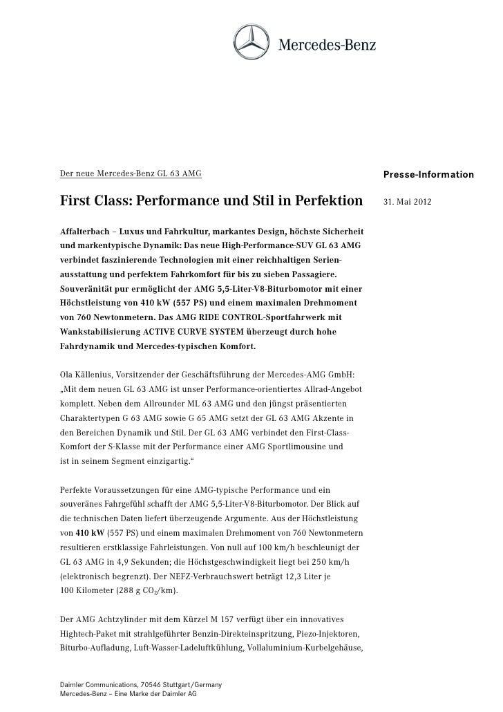Der neue Mercedes-Benz GL 63 AMG                                                  Presse-InformationFirst Class: Performan...