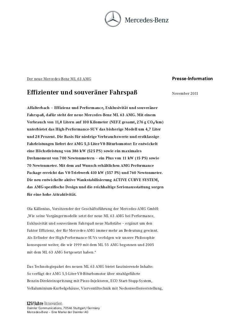 Der neue Mercedes-Benz ML 63 AMG                                              Presse-InformationEffizienter und souveräner...