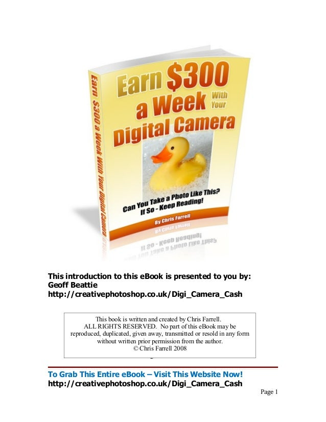 This introduction to this eBook is presented to you by: Geoff Beattie http://creativephotoshop.co.uk/Digi_Camera_Cash Tabl...
