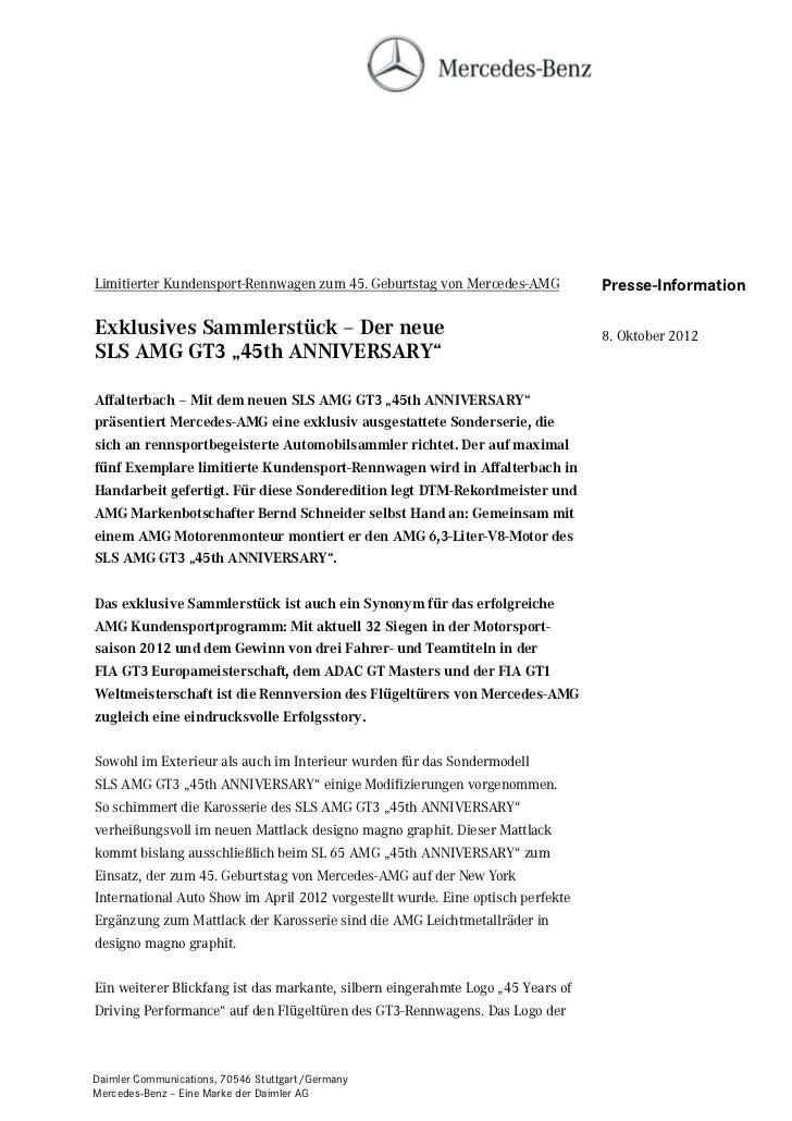 Limitierter Kundensport-Rennwagen zum 45. Geburtstag von Mercedes-AMG            Presse-InformationExklusives Sammlerstück...
