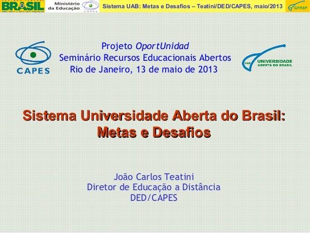 Sistema UAB: Metas e Desafios – Teatini/DED/CAPES, maio/2013João Carlos TeatiniDiretor de Educação a DistânciaDED/CAPESSis...