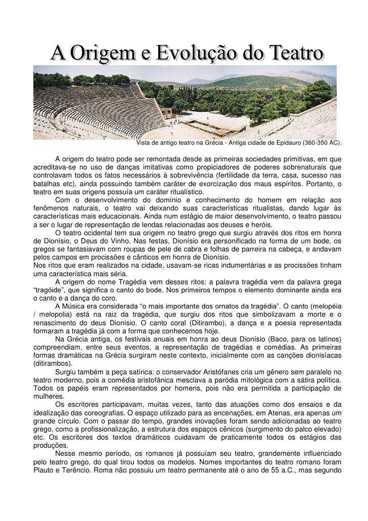 Vista de antigo teatro na Grécia - Antiga cidade de Epidauro (360-350 AC).        A origem do teatro pode ser remontada de...