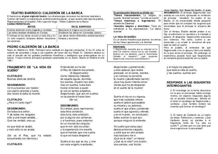 TEATRO BARROCO: CALDERÓN DE LA BARCA<br />El barroco es el gran siglo del teatro. Los dramaturgos renovaron las técnicas t...