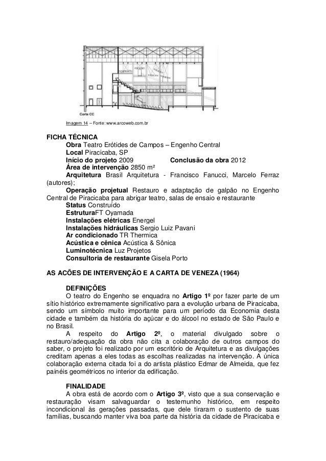 O teatro er tides de campos e a carta de veneza 1964 - Restaurante teatro campos ...