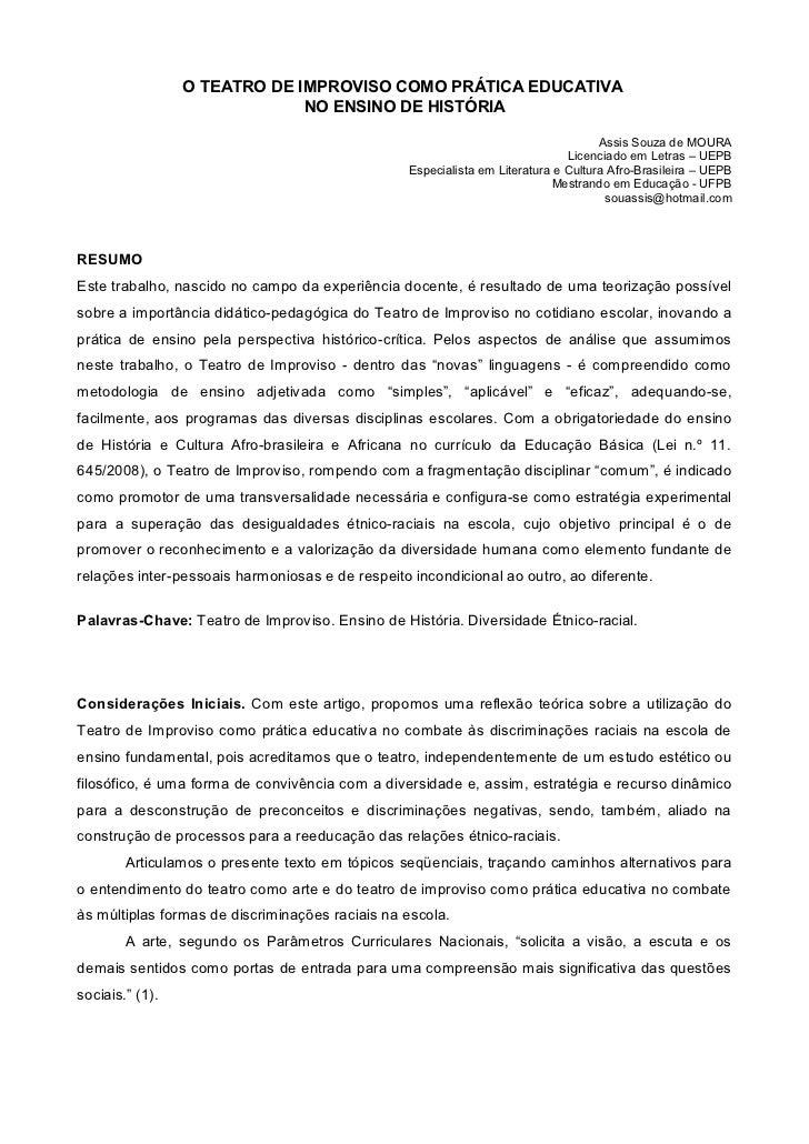 O TEATRO DE IMPROVISO COMO PRÁTICA EDUCATIVA                              NO ENSINO DE HISTÓRIA                           ...