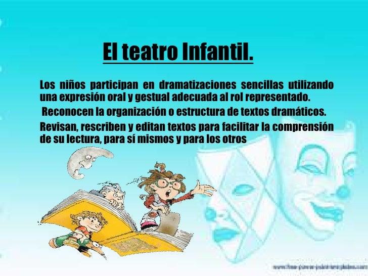El teatro Infantil.<br />Los niños participan en dramatizaciones sencillas utilizando una expresión oral y gestual adecuad...
