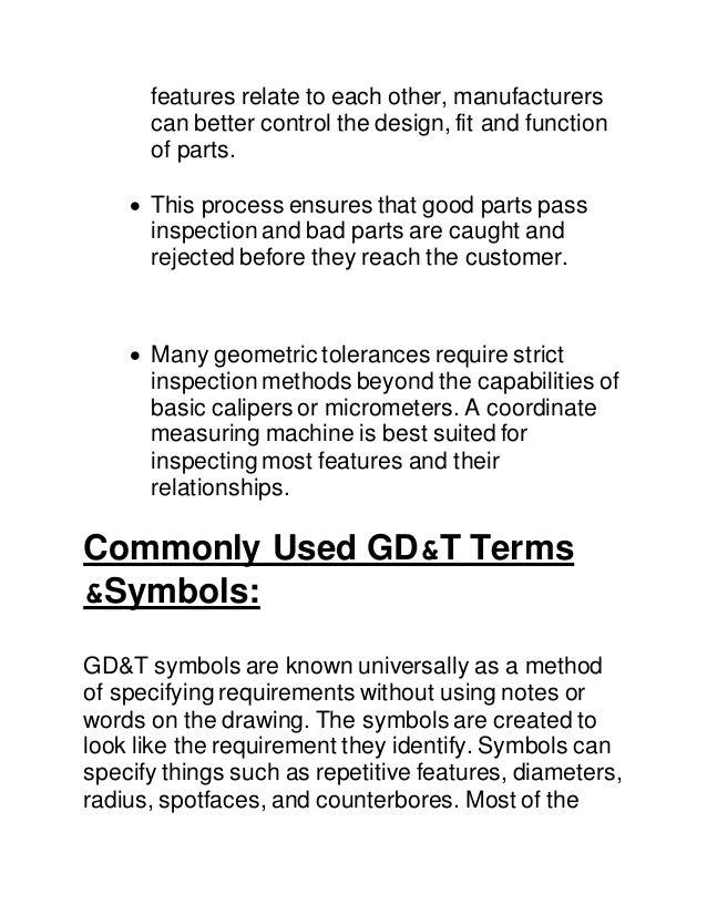 Report On Geometric Dimensional Tolerances
