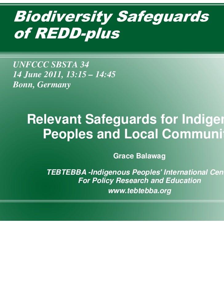 Biodiversity Safeguardsof REDD-plusUNFCCC SBSTA 3414 June 2011, 13:15 – 14:45Bonn, Germany   Relevant Safeguards for Indig...