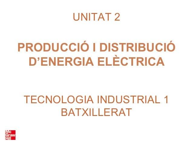 UNITAT 2PRODUCCIÓ I DISTRIBUCIÓ D'ENERGIA ELÈCTRICATECNOLOGIA INDUSTRIAL 1     BATXILLERAT