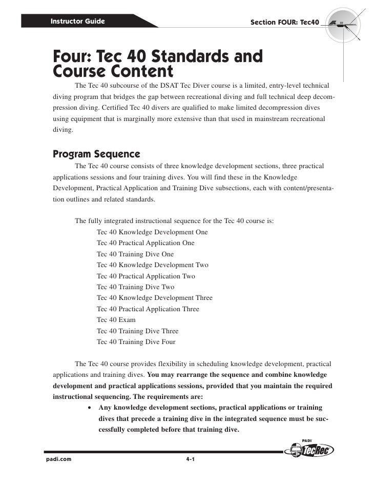 Instructor Guide                                                      Section four: Tec40  four: Tec 40 Standards and  Cou...