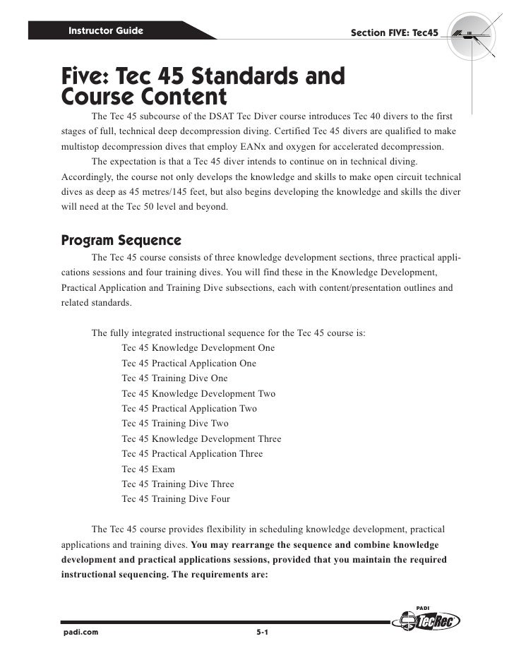 Instructor Guide                                                       Section fIve: Tec45five: Tec 45 Standards andCourse...