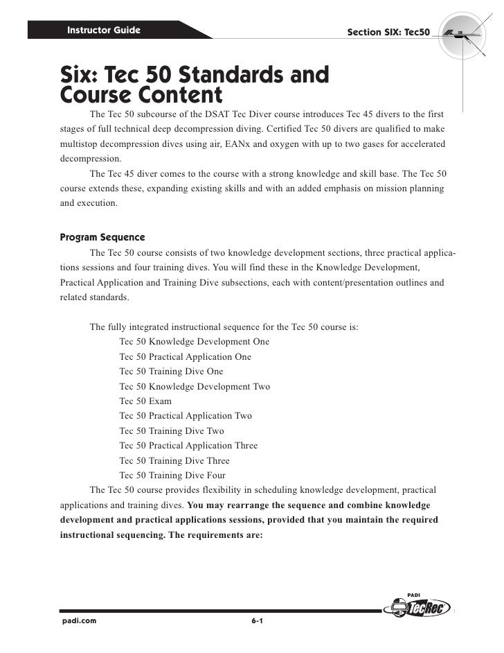 Instructor Guide                                                       Section SIx: Tec50Six: Tec 50 Standards andCourse C...