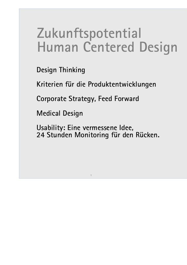 ZukunftspotentialHuman Centered DesignDesign ThinkingKriterien für die ProduktentwicklungenCorporate Strategy, Feed Forwar...