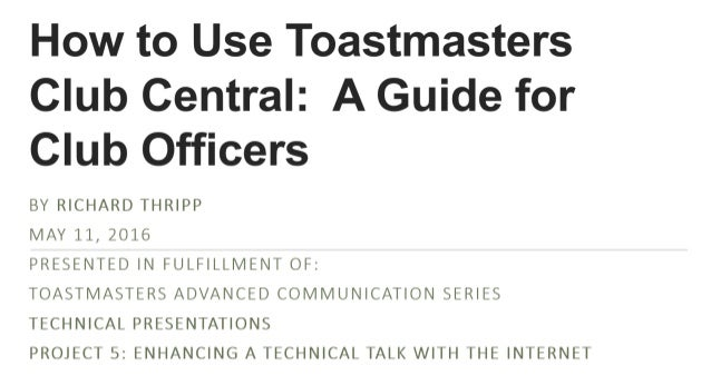 How to Use Toastmasters Club Central: A Guide for Club Officers
