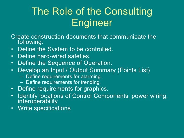 The Consultants Role