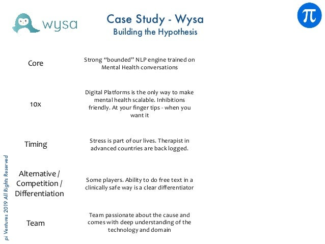 piVentures2019AllRightsReserved Case Study - Wysa Building the Hypothesis Core 10x Team Someplayers.Abilitytodofreet...