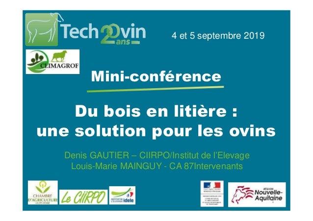 Du bois en litière : une solution pour les ovins 4 et 5 septembre 2019 Mini-conférence Denis GAUTIER – CIIRPO/Institut de ...