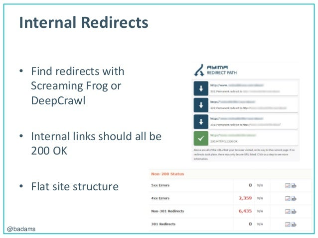 POLEMIC D I G I T A L@badams Internal Redirects • Find redirects with Screaming Frog or DeepCrawl • Internal links should ...