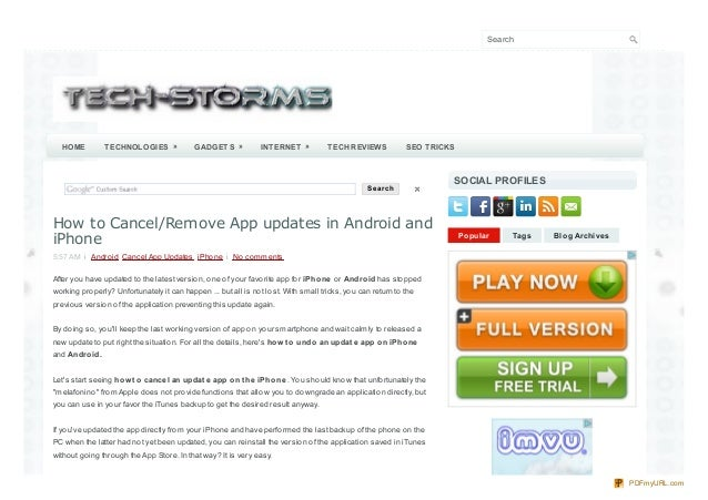 How to Cancel/Remove App updates in Android and iPhone
