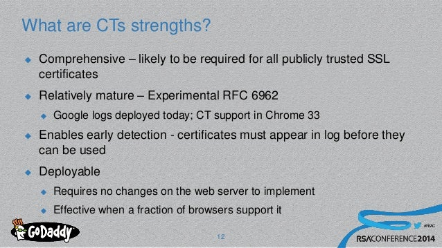 #RSAC What are CTs strengths?  Comprehensive – likely to be required for all publicly trusted SSL certificates  Relative...