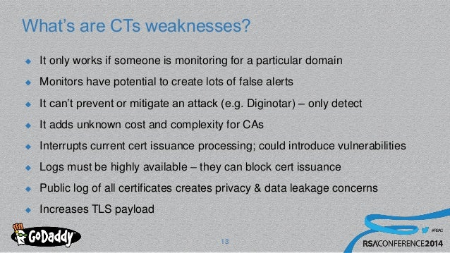 #RSAC What's are CTs weaknesses?  It only works if someone is monitoring for a particular domain  Monitors have potentia...