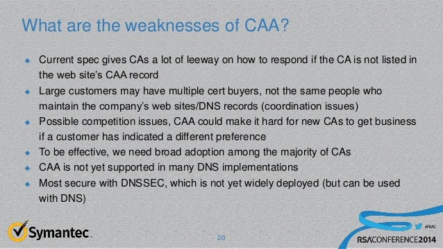 #RSAC What are the weaknesses of CAA?  Current spec gives CAs a lot of leeway on how to respond if the CA is not listed i...