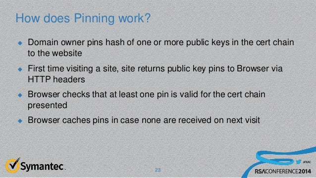 #RSAC How does Pinning work?  Domain owner pins hash of one or more public keys in the cert chain to the website  First ...