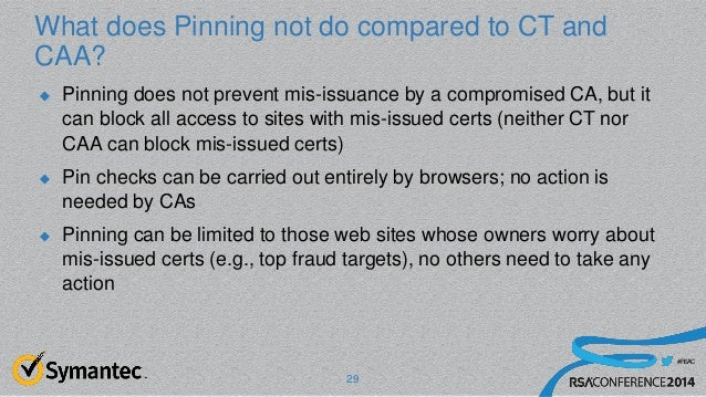 #RSAC What does Pinning not do compared to CT and CAA?  Pinning does not prevent mis-issuance by a compromised CA, but it...