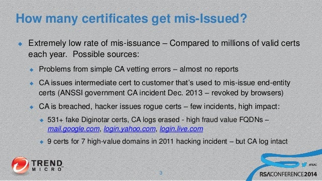 #RSAC How many certificates get mis-Issued?  Extremely low rate of mis-issuance – Compared to millions of valid certs eac...