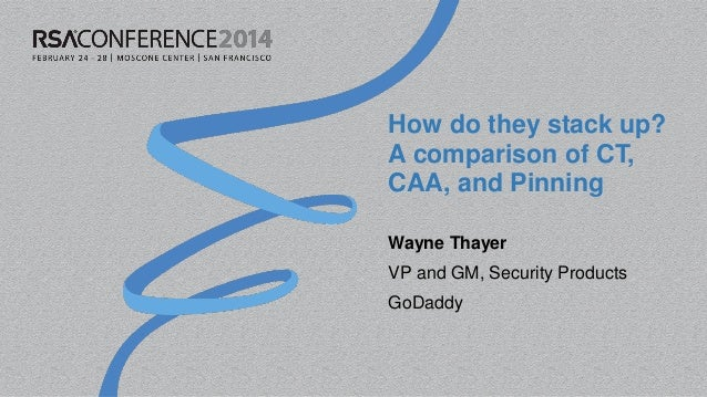 How do they stack up? A comparison of CT, CAA, and Pinning Wayne Thayer VP and GM, Security Products GoDaddy