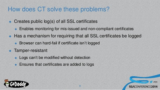 #RSAC How does CT solve these problems?  Creates public log(s) of all SSL certificates  Enables monitoring for mis-issue...