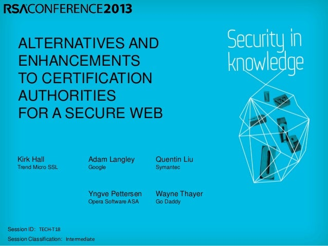 ALTERNATIVES AND    ENHANCEMENTS    TO CERTIFICATION    AUTHORITIES    FOR A SECURE WEB   Kirk Hall                     Ad...