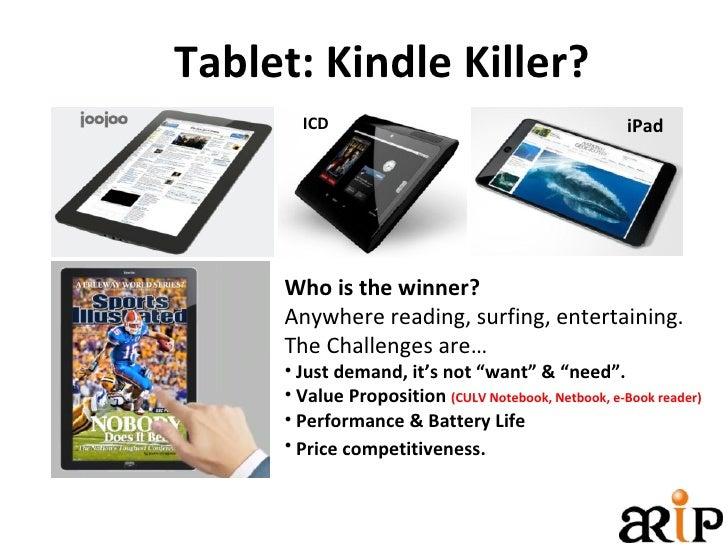 Tablet: Kindle Killer? <ul><li>Who is the winner? </li></ul><ul><li>Anywhere reading, surfing, entertaining. </li></ul><ul...