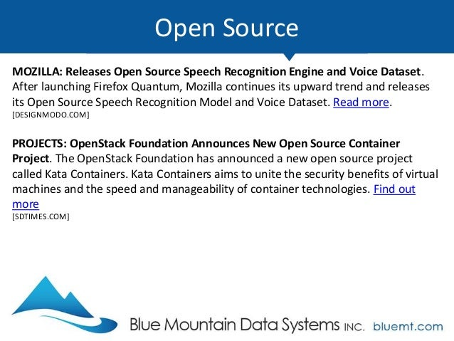 Tech Update Summary from Blue Mountain Data Systems December 2017