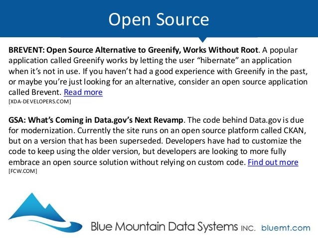 Tech Update Summary from Blue Mountain Data Systems July 2017