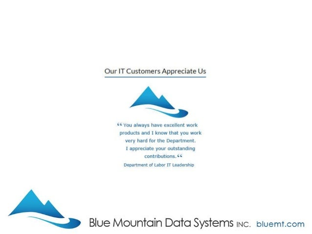 Tech Update Summary from Blue Mountain Data Systems June 2017 Slide 2