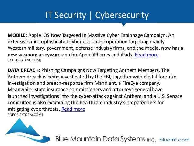 Tech Update Summary from Blue Mountain Data Systems March 2015