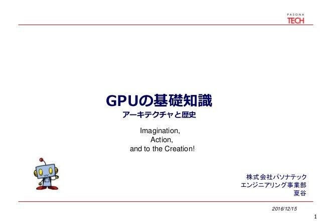 GPUの基礎知識 アーキテクチャと歴史 2016/12/15 株式会社パソナテック エンジニアリング事業部 夏谷 1 Imagination, Action, and to the Creation!