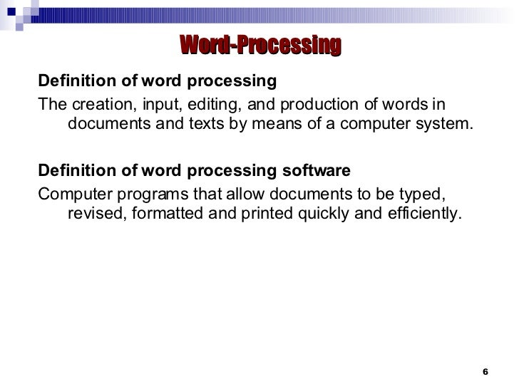Applications: Word-Processing, Spreadsheet & Database