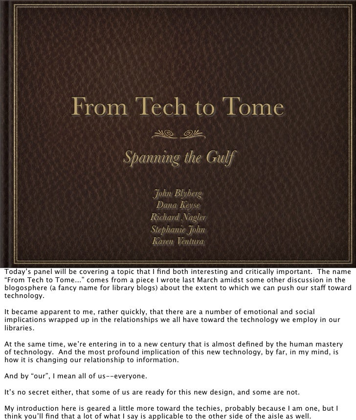 From Tech to Tome                                   Spanning the Gulf                                              John Bl...