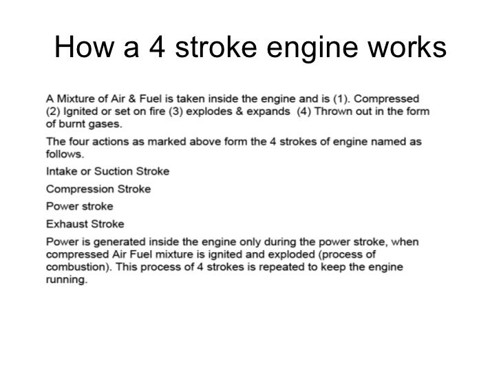 How a 4 stroke engine works