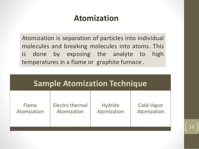 Sample Atomization Technique Flame Atomization Electro thermal Atomization Hydride Atomization Cold-Vapor Atomization Atom...