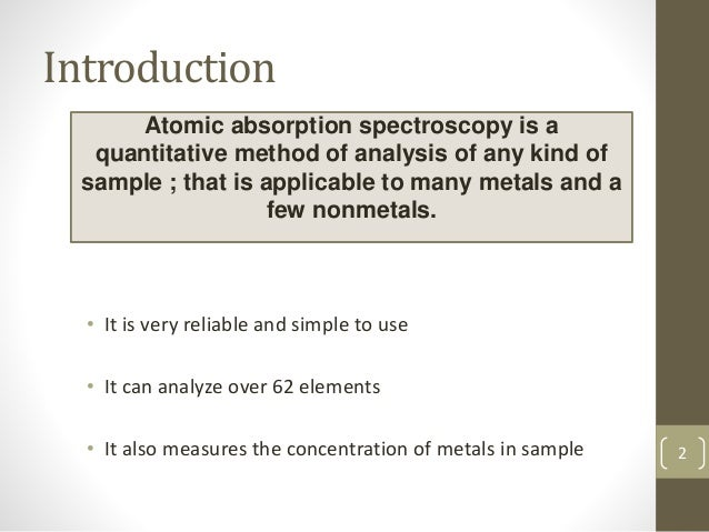 ATOMIC ABSORPTION SPECTROSCOPY Slide 2