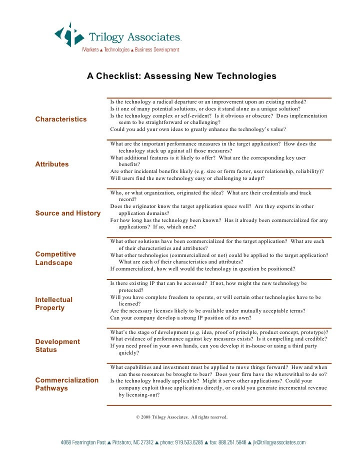 A Checklist: Assessing New Technologies                        Is the technology a radical departure or an improvement upo...